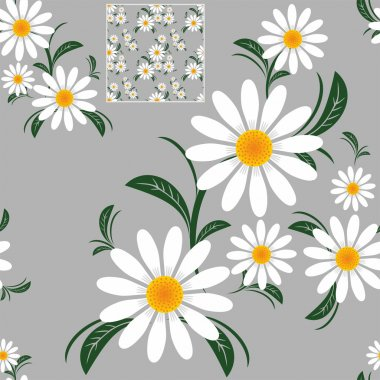 Daisy seamless Pattern on gray