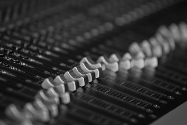 Console sound  mixer closeup
