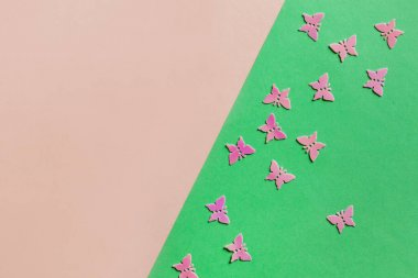 Close up photo of pink batterflies glitter confetty on colorful pink and green background. Top view, spring, Easter and various holidays and events concept