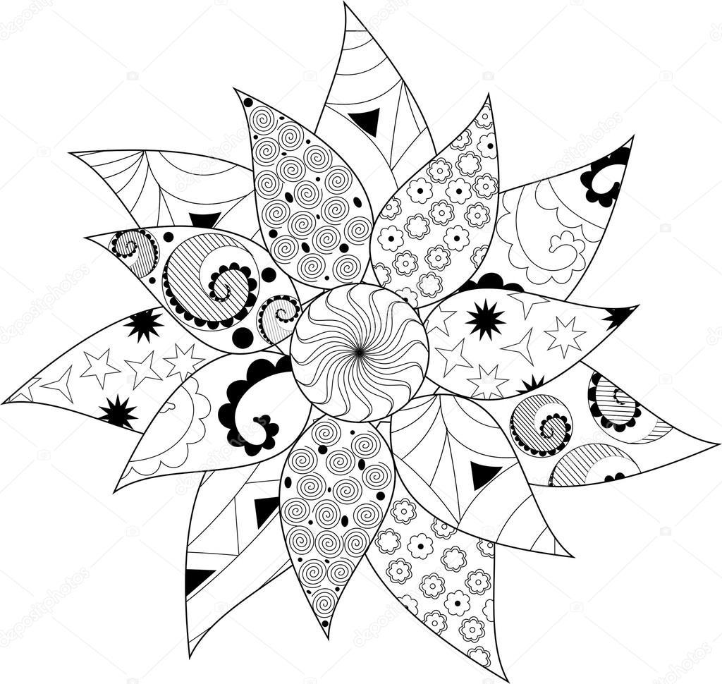 mandala blanco y negro, flores — Archivo Imágenes Vectoriales ...