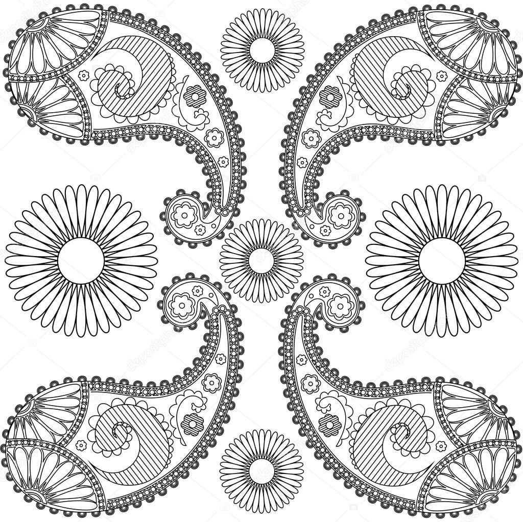 Mandala de Paisley garabatos, blanco y negro, colorear, paisley para ...