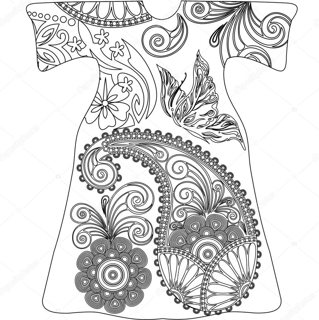 Mandala de garabatos, blanco y negro de Paisley — Vector de stock ...