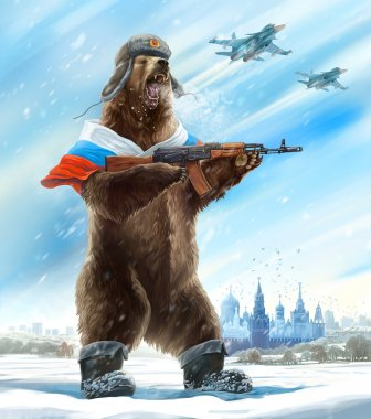 russian bear with kalashnikov gun