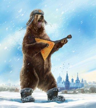 Russian bear in soldier cap with balalaika