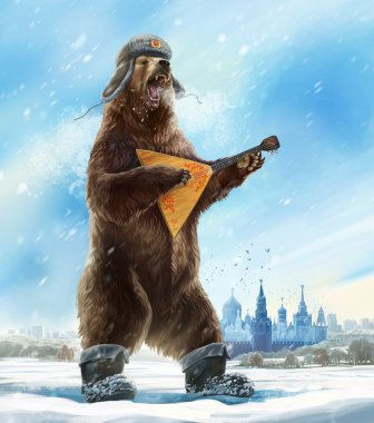 Russian bear in soldier cap with balalaika