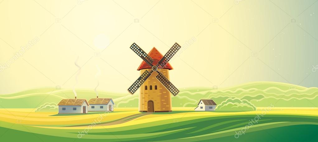 Rural landscape with windmill and houses
