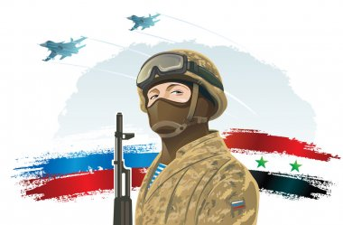 Russian soldier with flags