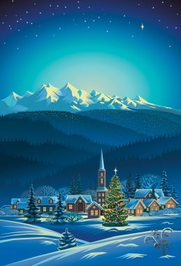 Winter rural holiday landscape.