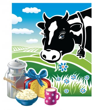 Cow with a set of dairy products.