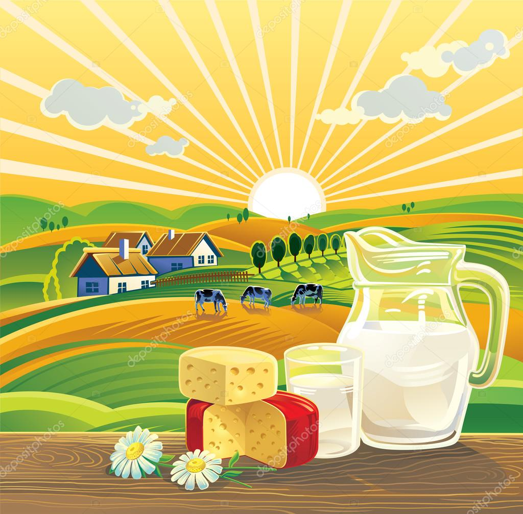 Landscape and  dairy products.