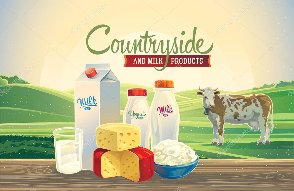 Dairy products and landscape with cow