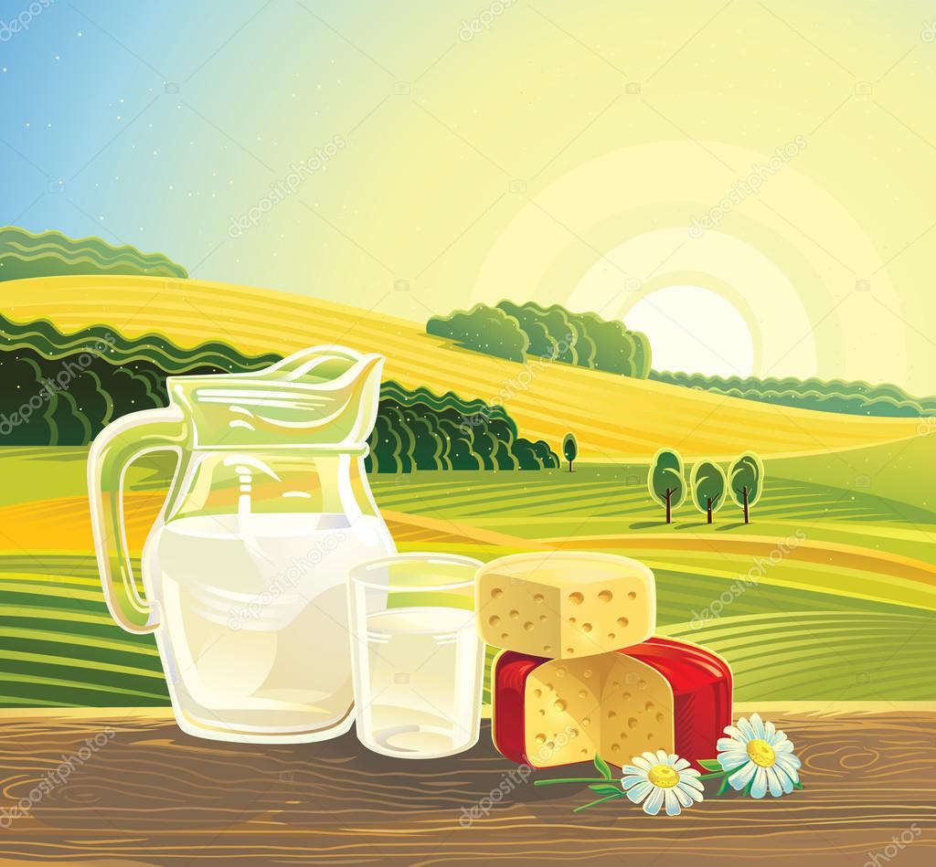 landscape with dairy products.