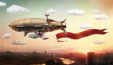 Dirigible with a banner over a city.