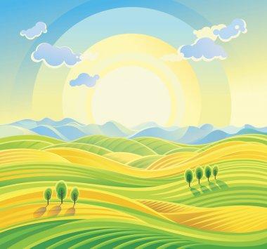 Sunny hilly landscape