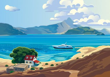 Seascape with yacht and countryside home