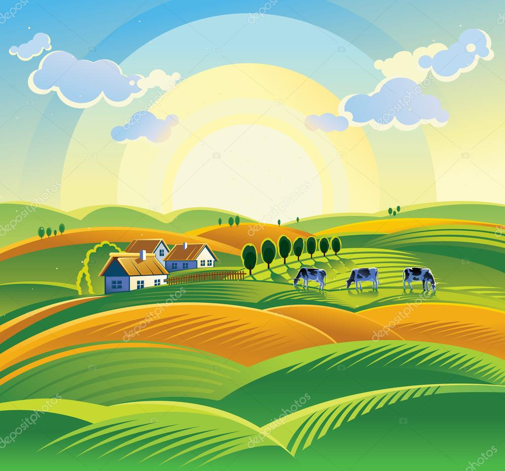 Summer countryside landscape