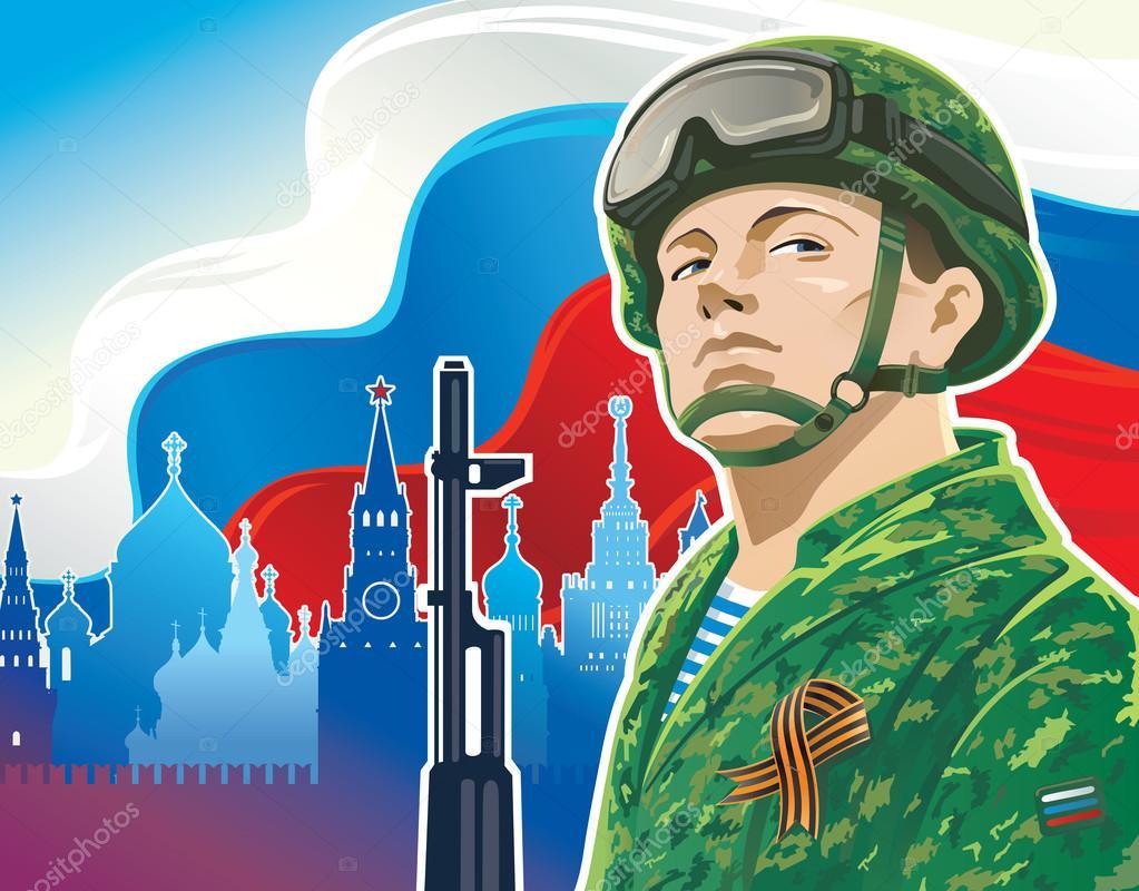 Russian soldier postcard. vector illustration stock vector