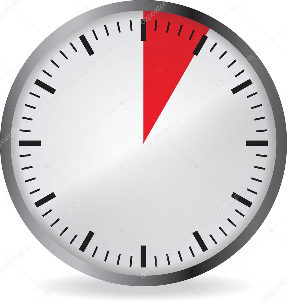 clock with red 5 minute deadline — stock vector