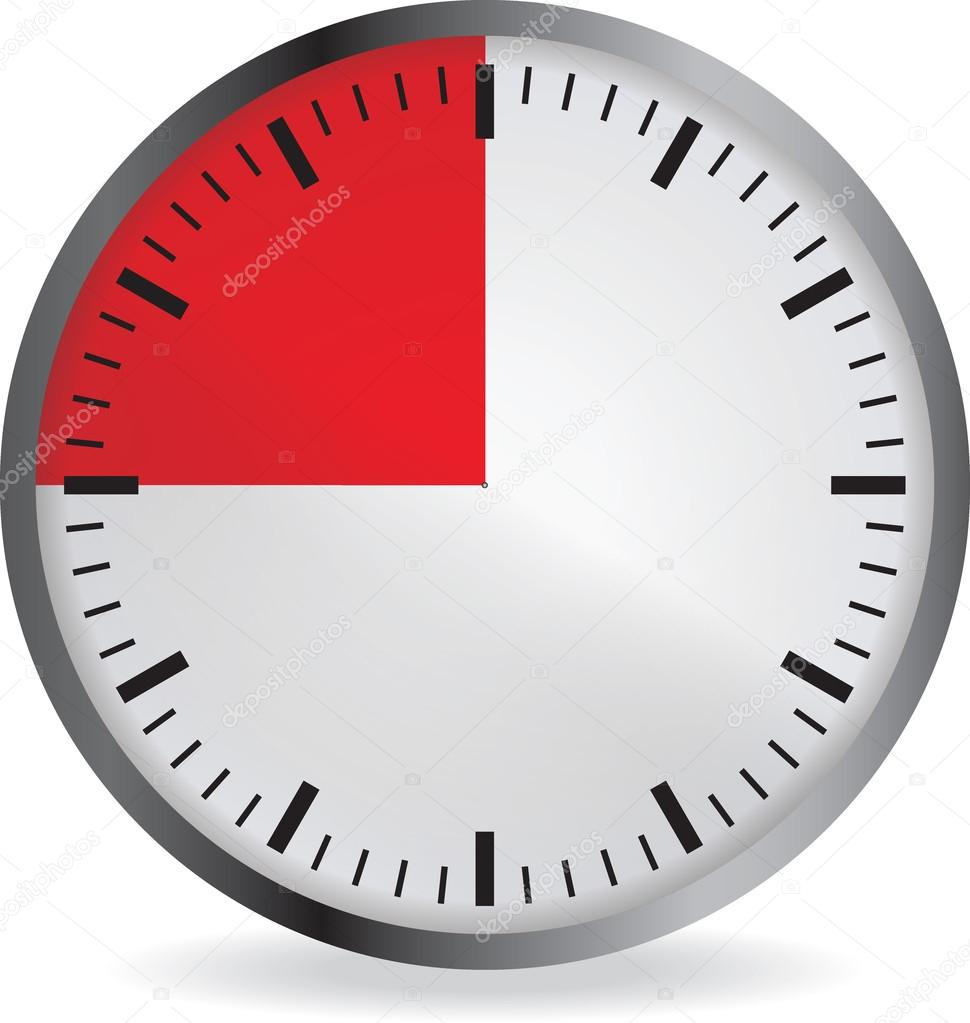 clock with red 15 minute deadline stock vector orelphoto2 120222316