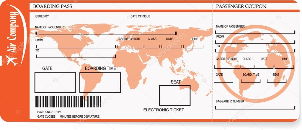 Airline Boarding Pass Tickets With Barcode Stock Vector
