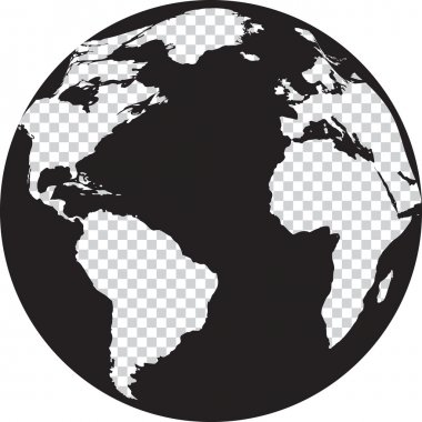 Black and white globe with transparency on the continents. Vector illustration stock vector