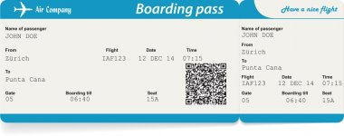 Vector image of airline boarding pass ticket with QR2 code. Isolated on white. Vector illustration stock vector