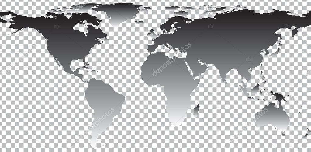 Black Map Of World On Transparent Background Stock Vector