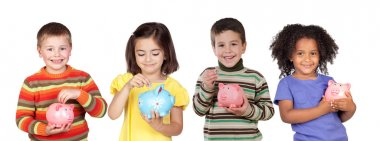 Four funny children with money-boxes