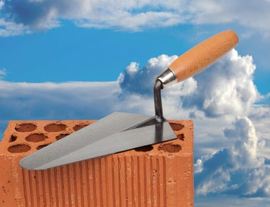 Construction materials with a blue sky of background