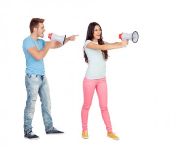 Couple shouting with megaphones