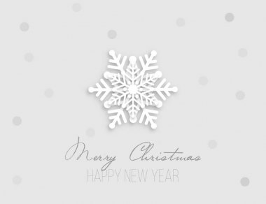 Christmas postcard with paper snowflake and silver confetti on grey background. New year holiday design. icon