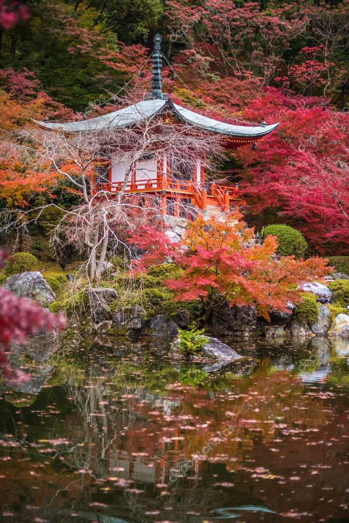 Daigoji temple in maple trees