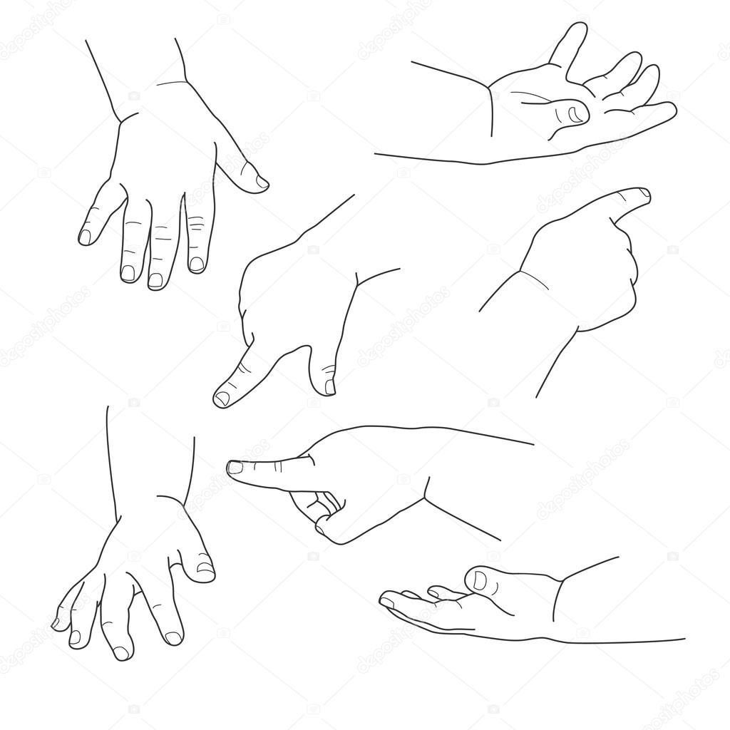 Baby hand, different gestures, vector illustration