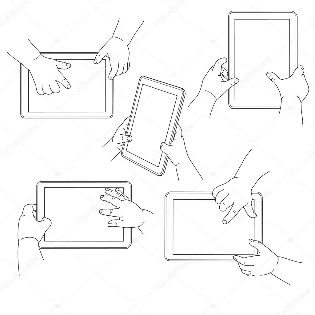 Child's hands holding a tablet, vector illustration
