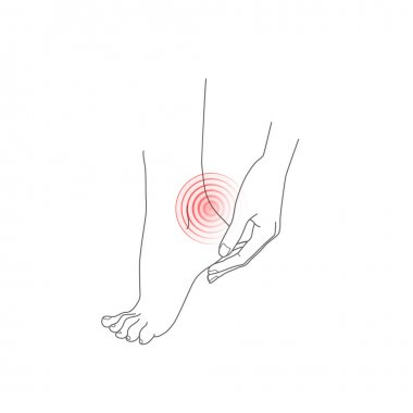 Hand and foot, pain feet, vector illustration