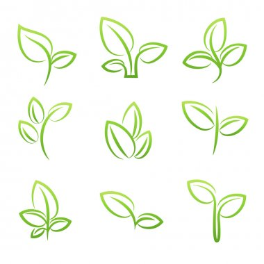 Leaf simbol, Set of green leaves design elements