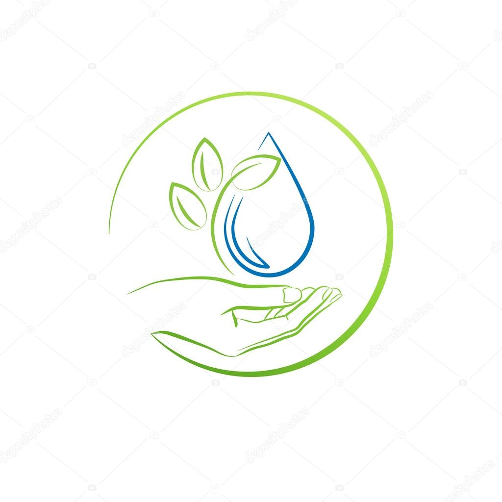 Hand, leaf and water drop, concept vector illustration