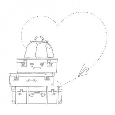 Sketch illustration of flying paper plane around travel suitcases isolated vector
