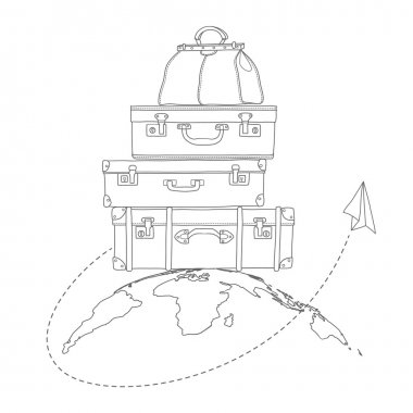 Vector illustration of flying air plane around travel suitcases on planet background
