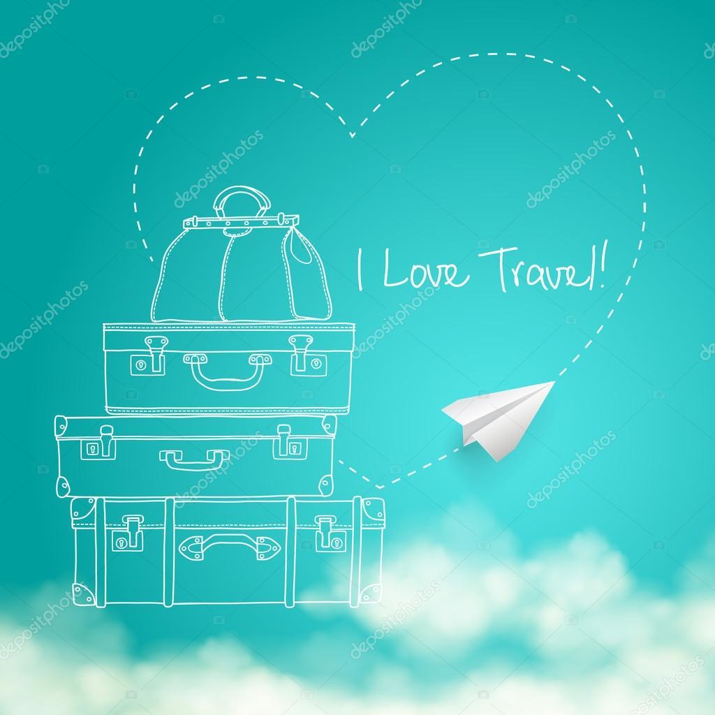 周りの空飛ぶ紙飛行機のイラスト空背景ベクトルにスーツケースを旅行し