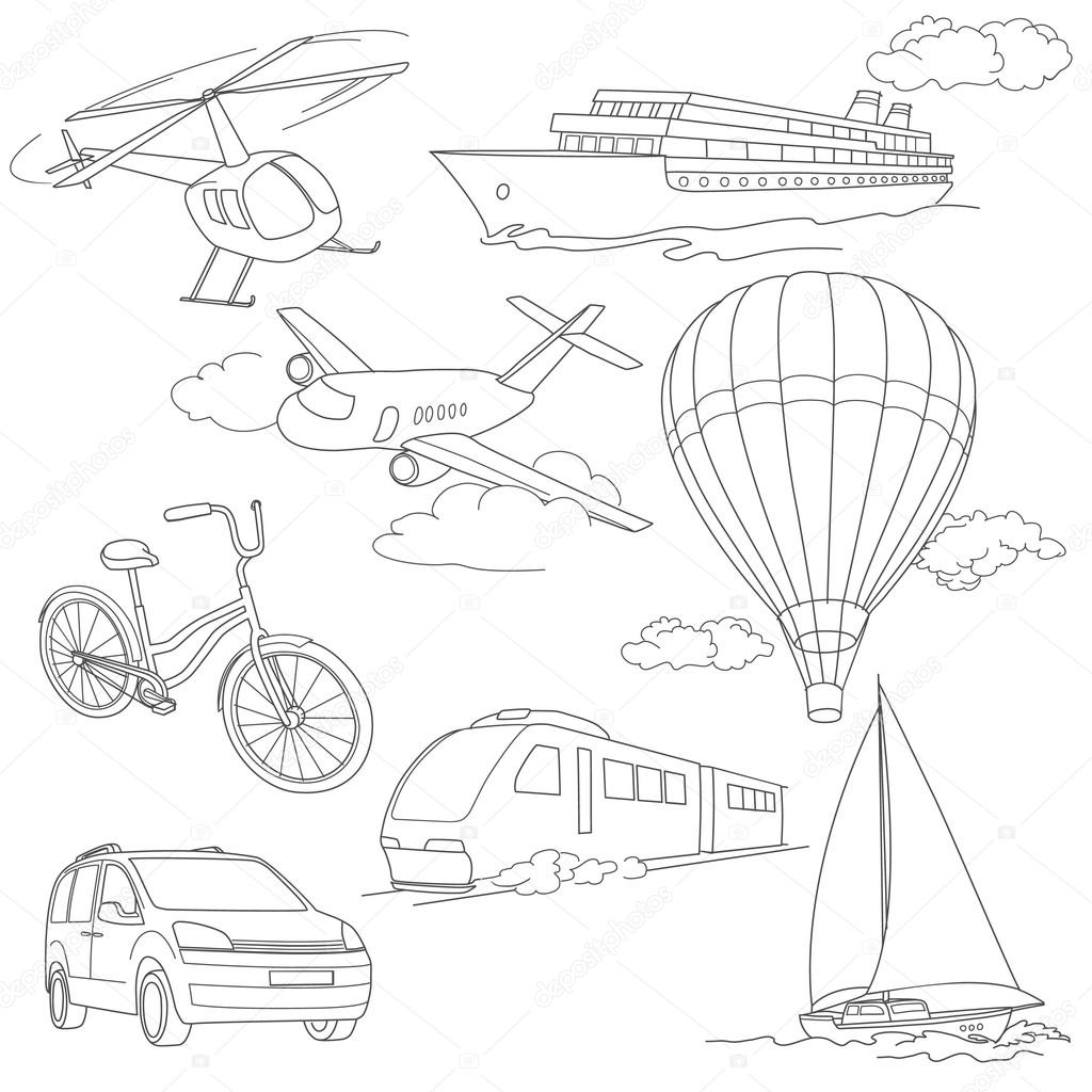 Travel set with car, air-balloons, ships, bike, helicopter, airplane and train