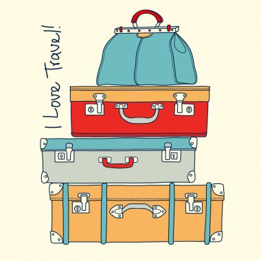 I love travel. Travel concept with vintage suitcases in vector