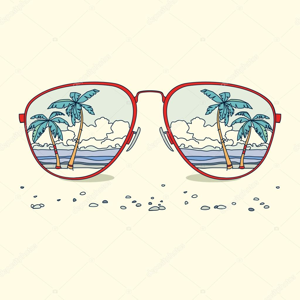 Sunglasses With Palm Trees  reflection of the beach palm trees beach in sunglasses stock