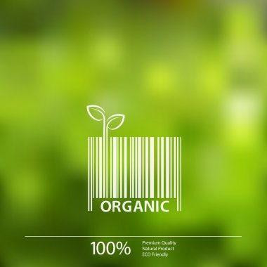 Vector blurred nature background with eco barcode label of Organic Fresh Food.