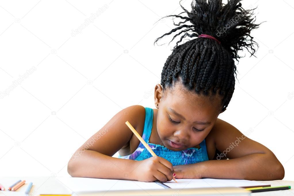 65b9bdc36e84 Afrikanische Mädchen mit coolen Bleistift Zeichnung — Stockfoto ...