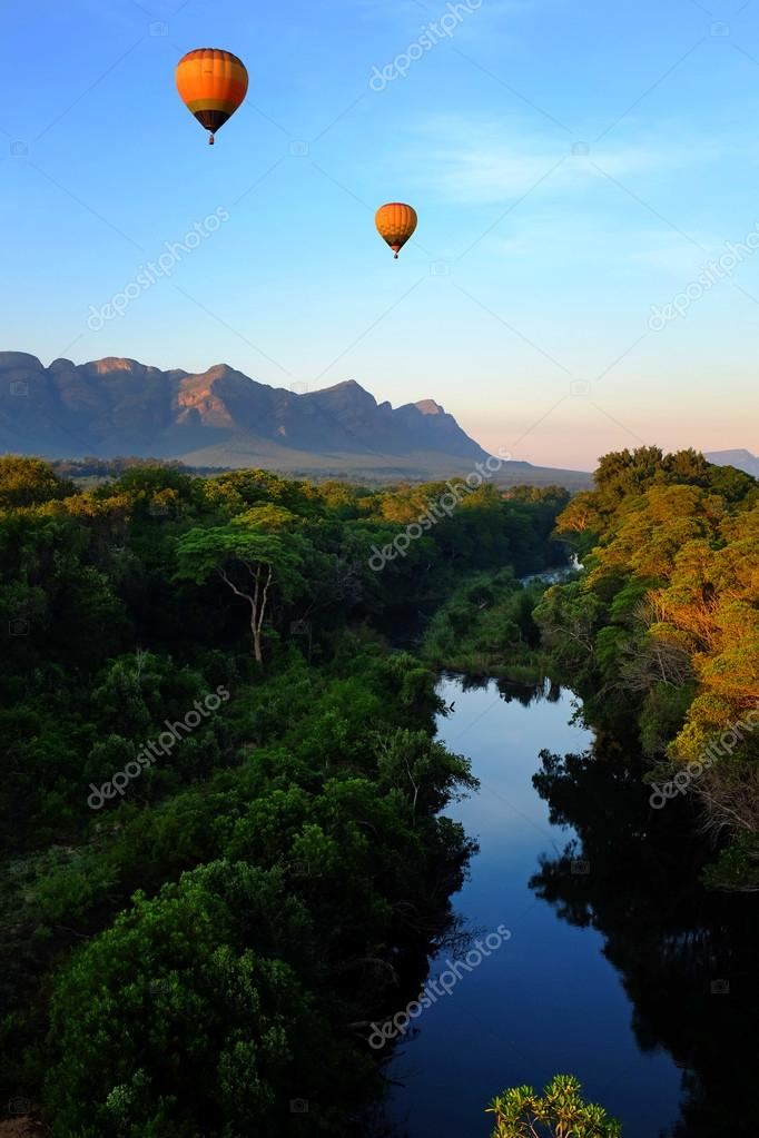 Hot air balloons over Africa.