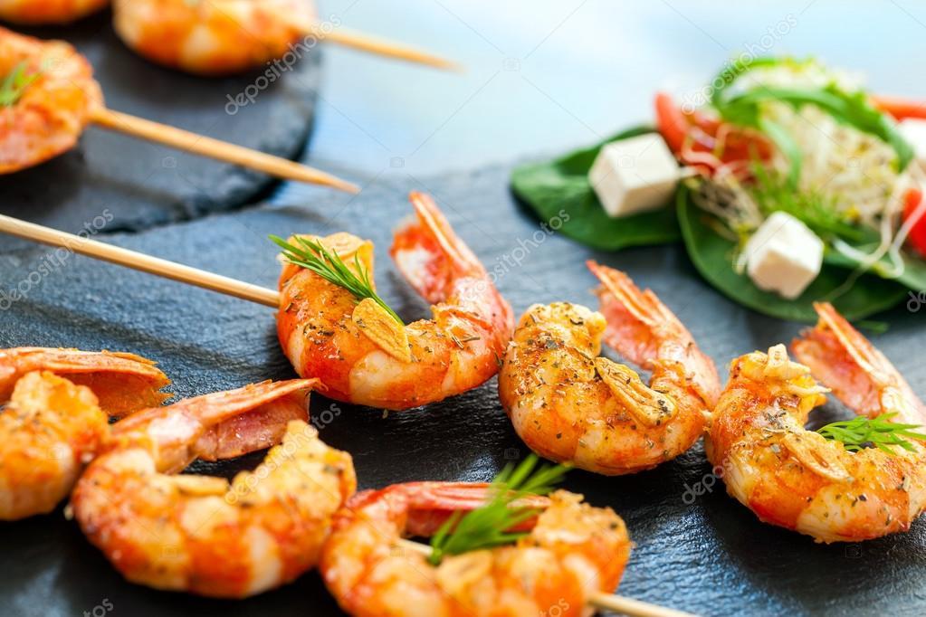 Appetizing giant shrimp starter.