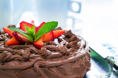 Detail of chocolate cake.