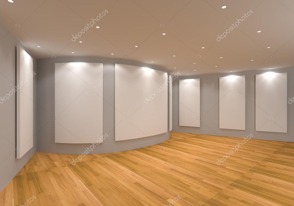 Leeren Raum Innenraum Mit Weißen Leinwand Auf Eine Graue Wand In Der Galerie  U2014 Foto Von Sumetho