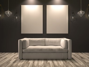 White canvas for images hanging on a wall